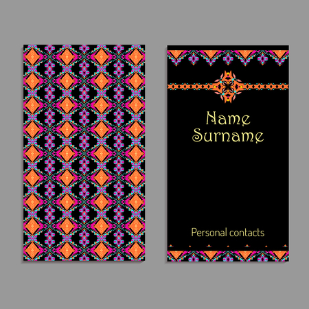 business card template. Ethnic tribal ornaments. Boho style. Geometric striped motifs