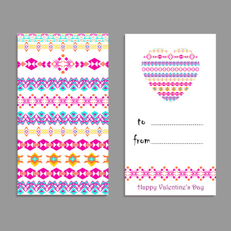 Vector greeting card template to valentines day. Congratulations backgrounds with heart, place for text and ethnic tribal patterns