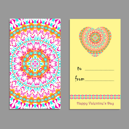 Vector greeting card template to valentines day. Congratulations backgrounds with heart, place for text and mandalas patterns