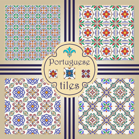 Vector seamless texture collection. Set of beautiful colored patterns for design and fashion with decorative elements. Portuguese tiles, Azulejo, Moroccan ornaments Иллюстрация