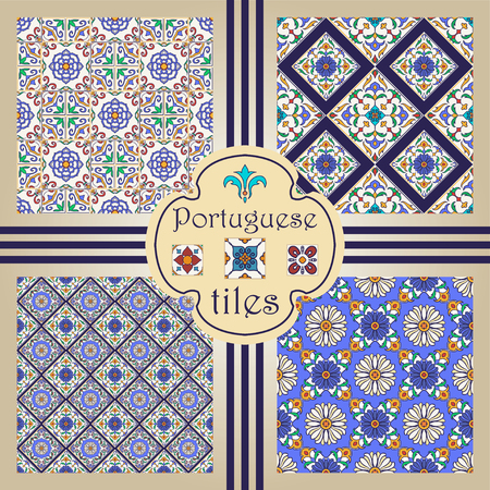 Vector seamless texture collection. Set of beautiful colored patterns for design and fashion with decorative elements. Portuguese tiles, Azulejo, Moroccan ornaments Vettoriali