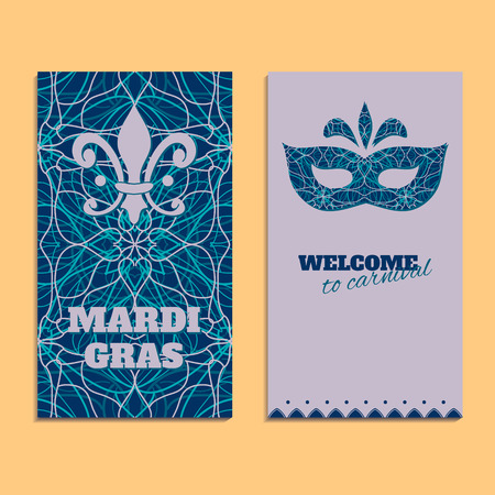 Vector invitation card template to Fat Tuesday. Mardi Gras carnival welcome. Congratulation with oriental pattern, mask and text