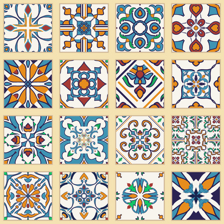 portuguese: Collection set of Portuguese patchwork tiles.