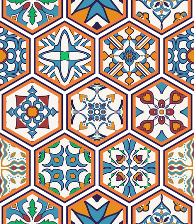 Vector seamless texture. Beautiful mega patchwork pattern for design and fashion with decorative elements in hexagon. Portuguese tiles, Azulejo, Moroccan ornaments Illustration