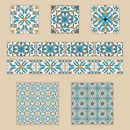 Sammlung Von Farbigen Mustern Für Design Und Mode. Azulejo, Talavera,  Spanisch, Marokkanische Ornamente