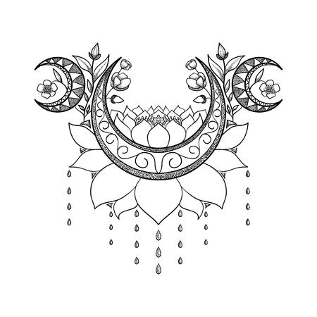 ベクターの手には、タトゥーのデザインが描かれました。三日月の月、ロータスと花の組成物。神聖なテーマ。東洋のモチーフ  イラスト・ベクター素材