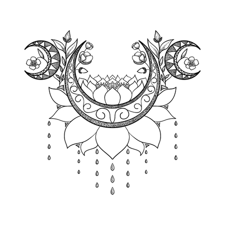 Vector hand drawn tattoo design. Crescent moon, lotus and flowers composition. Sacred theme. Oriental motif