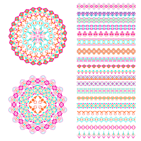 Vector set of geometric borders and mandalas in ethnic boho style.
