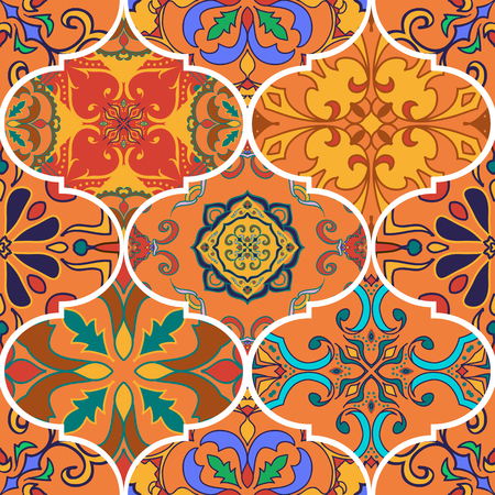 Vector seamless texture. Beautiful patchwork pattern for design and fashion with decorative elements. Illustration