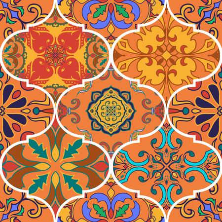 Vector naadloze textuur. Mooi patchworkpatroon voor design en mode met decoratieve elementen.