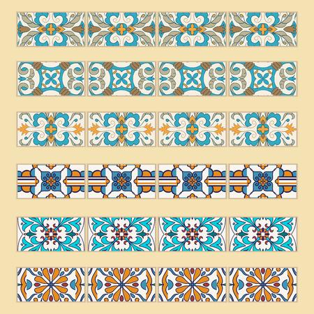 #76861848   Vector Reihe Von Dekorativen Fliesen Grenzen. Sammlung Von  Farbigen Mustern Für Design Und Mode.