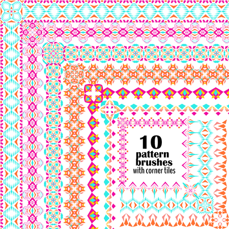 Vector set of geometric borders in ethnic boho style. Collection of pattern brushes with corner tiles inside. Иллюстрация