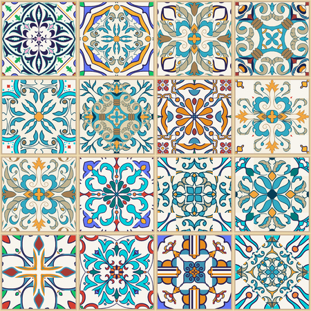 Vector seamless texture. Beautiful patchwork pattern for design and fashion with decorative elements. Portuguese tiles, Azulejo, Moroccan ornaments Çizim