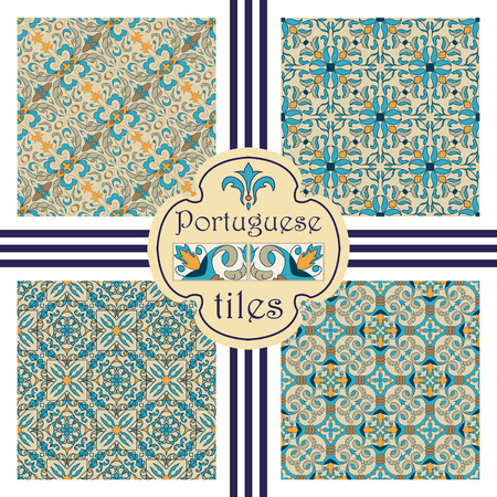 Vector seamless texture collection. Set of beautiful colored patterns for design and fashion with decorative elements. Portuguese tiles, Azulejo, Moroccan ornaments Ilustração
