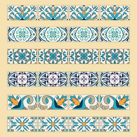 #76786863   Vector Reihe Von Dekorativen Fliesen Grenzen. Sammlung Von  Farbigen Mustern Für Design Und Mode. Portugiesisch, Azulejo, Talavera,  Spanische, ...