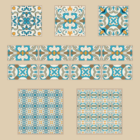Vector set of Portuguese tiles and borders. Collection of colored patterns for design and fashion. Azulejo,Talavera, Spanish, Moroccan ornaments