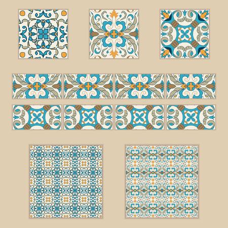Vector set of Portuguese tiles and borders. Collection of colored patterns for design and fashion. Azulejo,Talavera, Spanish, Moroccan ornaments Banco de Imagens - 76786874