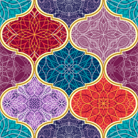 Vector seamless texture. Beautiful mega patchwork mosaic pattern for design and fashion with decorative elements. Arabic, oriental, asian, floral motifs