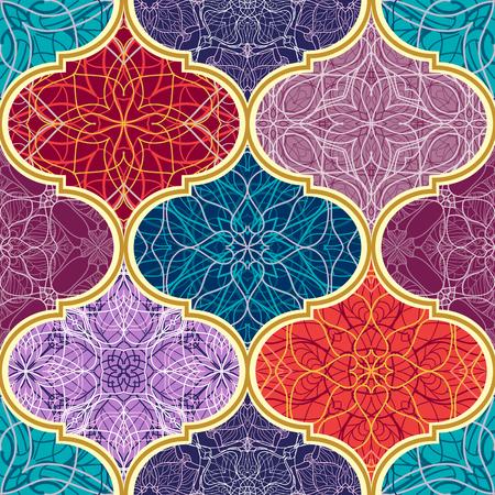 Vector naadloze textuur. Prachtig mega patchwork mozaïekpatroon voor design en mode met decoratieve elementen. Arabische, oosterse, aziatische, bloemmotieven Stock Illustratie