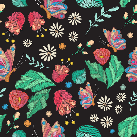 Vector seamless texture with embroidery design. Colored floral pattern with decorative embroidered flowers, leaves and  butterfly. Ethnic folk ornament