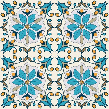 Elemento decorativo do vetor. Belo padrão de cores para design e moda com elementos decorativos. Azulejos portugueses, Azulejo, ornamentos marroquinos Ilustración de vector