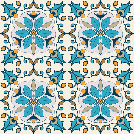 Vector decorative element. Beautiful colored pattern for design and fashion with decorative elements. Portuguese tiles, Azulejo, Moroccan ornaments