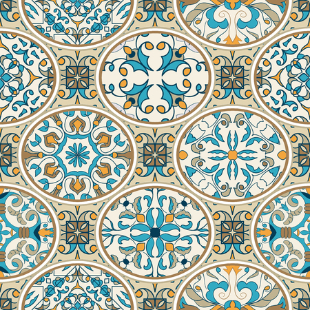Vector seamless texture. Beautiful patchwork pattern for design and fashion with decorative elements. Portuguese tiles, Azulejo, Moroccan ornaments 版權商用圖片 - 79566252