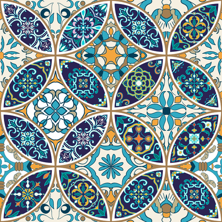Vector seamless texture. Beautiful patchwork pattern for design and fashion with decorative elements. Portuguese tiles, Azulejo, Moroccan ornaments Illustration