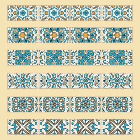 #81714060   Vector Set Of Decorative Tile Borders. Collection Of Colored  Patterns For Design And Fashion. Portuguese, Azulejo,Talavera, Spanish, ...
