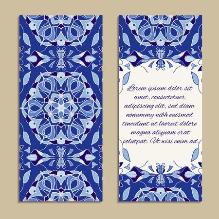 ビジネスと招待のためのカラフルな垂直バナーのベクトルを設定します。ポルトガル語、Azulejo、モロッコ;アラビア語;アジア装飾品。幾何学的な花のモチーフ 写真素材 - 83228718