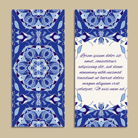 Vector set of colorful vertical banners for business and invitation. Portuguese, Azulejo, Moroccan; Arabic; asian ornaments. Geometric and floral motifs Ilustrace