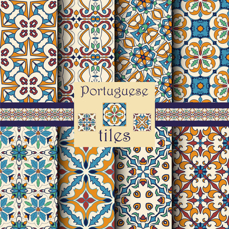 Vector seamless texture collection. Set of beautiful colored patterns for design and fashion with decorative elements. Portuguese tiles, Azulejo, Moroccan ornaments Illustration