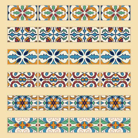 #87060513   Vector Reihe Von Dekorativen Fliesen Grenzen. Sammlung Von  Farbigen Mustern Für Design Und Mode. Portugiesisch, Azulejo, Talavera,  Spanische, ...