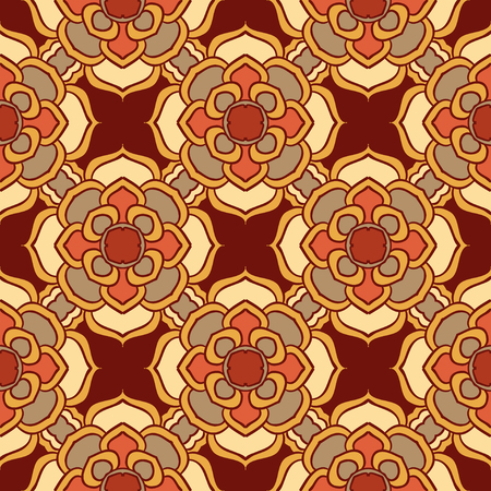 Vector seamless texture. Beautiful colored pattern for design and fashion with decorative elements. Portuguese, Moroccan, Turkish, asian ornaments. Oriental geometric and floral motifs Illustration