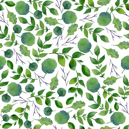 Seamless texture of watercolor greenery. Fresh spring foliage and tree branches. Pattern of decorative hand drawn elements for wrapping, wedding design or invitation cards on white background Foto de archivo - 97587878