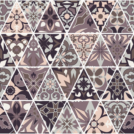 Vector seamless texture. Mosaic patchwork ornament with triangle elements. Portuguese azulejos decorative pattern. Ornamental square design in oriental style