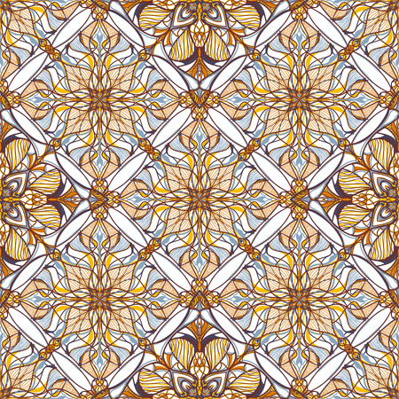 Pattern with decorative symmetric ornament. Ilustração