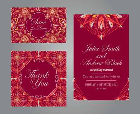 Wedding set in vintage ornamental style. Invitation; save the date card; thank you card. Vector templates