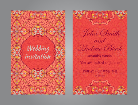 Wedding invitation in vintage ornamental style. Vector templates