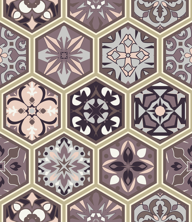 Vector seamless texture. Mosaic patchwork ornament with hexagon tiles. Portuguese azulejos decorative pattern. Ornamental design in oriental style Ilustração
