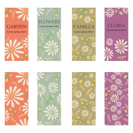 Vector set of colorful vertical banners for business and invitation. Rustic floral ornaments. Embroidery imitation. Camomile and garden plants
