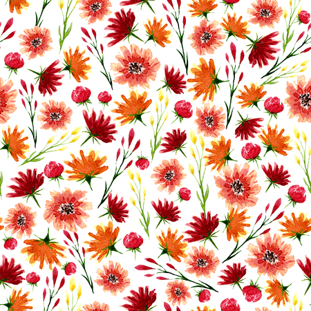 Seamless texture of watercolor flowers. Bright autumn print with floral elements. Pattern of decorative hand drawn ornament for wrapping, wedding design or invitation cards on white background