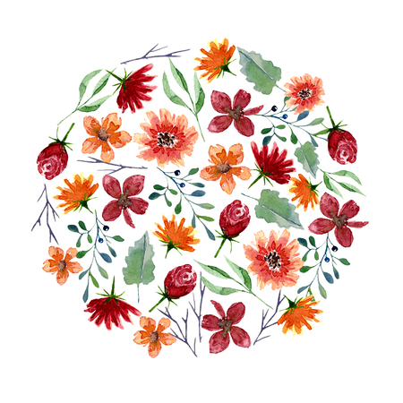 Round pattern of watercolor flowers and leaves. Bright autumn print in circle shape with floral elements. Decorative hand drawn ornament for wrapping, wedding design or invitation cards on white background