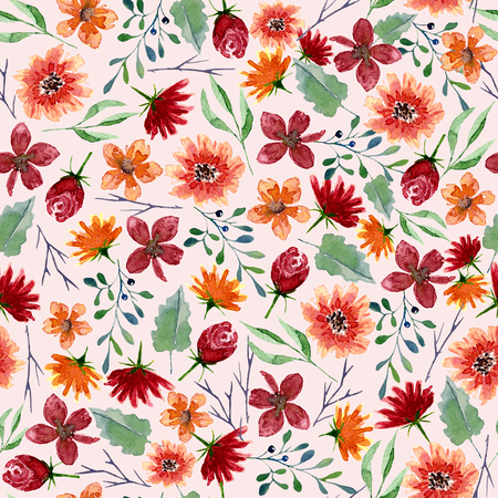Seamless texture of watercolor flowers. Bright autumn print with floral elements and foliage. Pattern of decorative hand drawn ornament for wrapping, wedding design or invitation cards