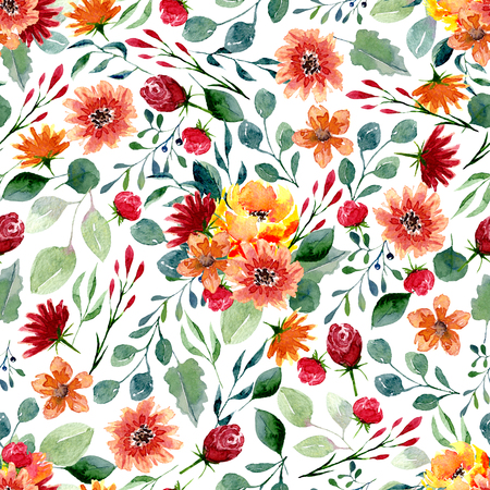 Seamless texture of watercolor flowers and leaves. Bright autumn print with foliage and floral elements. Pattern of decorative hand drawn ornament for wrapping, wedding design or invitation cards on white background