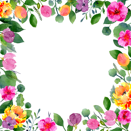 Watercolor floral frame. Background with fresh spring foliage, bright flowers and place for text. Design for wedding, invitations or cards Banco de Imagens