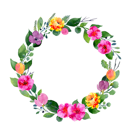 Watercolor floral wreath. Background with frame of fresh spring foliage, bright flowers and place for text. Design for wedding, invitations or cards