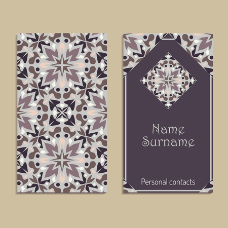 Vector business card template. Portuguese, Moroccan, Azulejo, Arabic, asian ornaments. Geometric and floral motifs