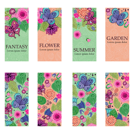 Vector set of colorful vertical banners for business and invitation. Rustic floral ornaments. Fantasy flowers, leaves and butterflies