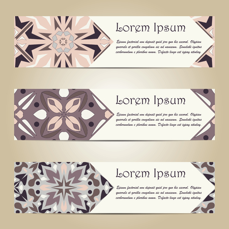 Vector set of colorful horizontal banners for business and invitation. Portuguese, Azulejo, Moroccan; Arabic; asian ornaments. Geometric and floral motifs Ilustração